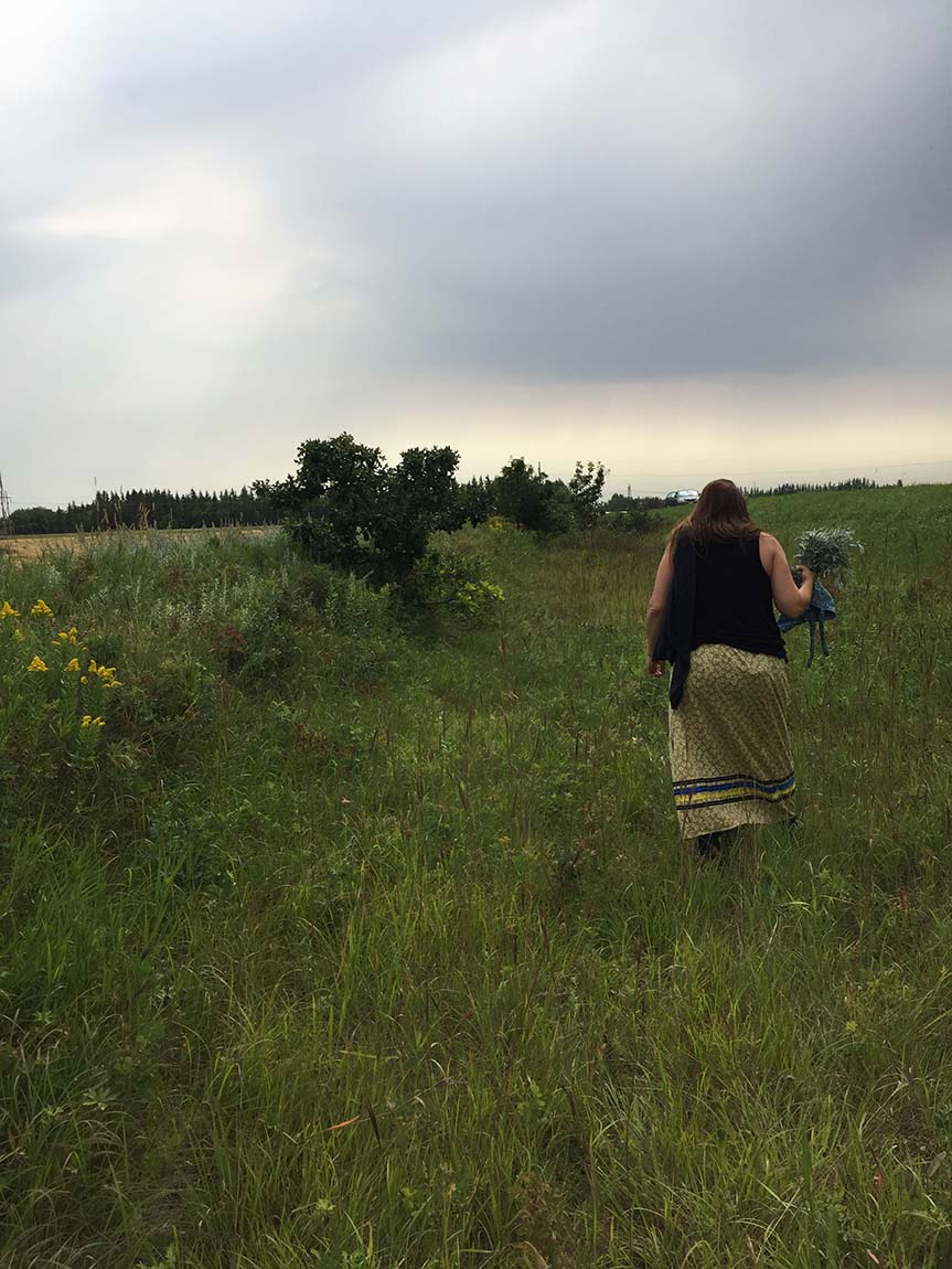 A woman walks in a large prairie field with a grey sky behind. She is carrying a bundle of medicines and wearing a traditional Indigenous ribbon skirt.